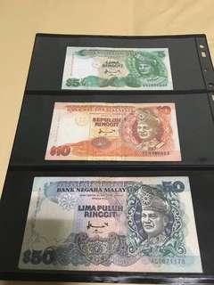 Malaysia 7th series RM5, 10, 50