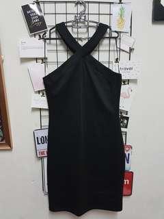 Black Mini Halter neckline Dress