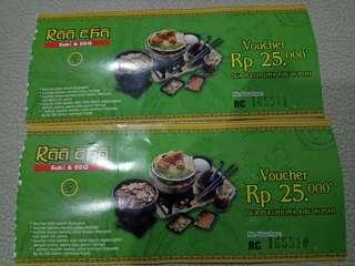 Voucher Makan di Raa Cha Restaurant senilai 50.000. Berlaku hanya di Raa Cha cabang Gandaria City sd 19 July 2018. Voucher hanya berlaku di hari senin sd jumat