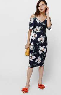 Beasie Printed Cut Out Shoulder Dress (Love Bonito)