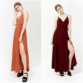 🐊Strap with slit Maxi dress
