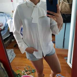 Zalora White Silk Polo