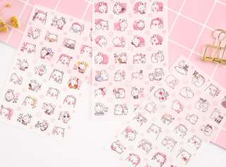 🚚 (Set of 6) Bunny & Bear Scrapbook / Planner Stickers #161