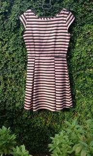 Pink stripe peplum flare party dress