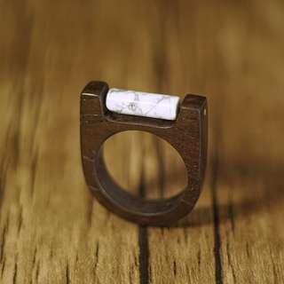 原創白松石木戒指