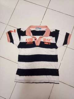 Bossini Dark Blue and Orange Striped Shirt