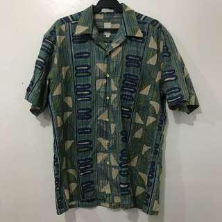 Vintage Print Short Sleeve Polo Button down