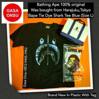Bathing Ape Bape Tie Dye Shark Tee Blue Original Japan