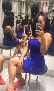 Blue tight fitting dress