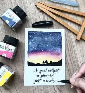Sunset night skies / galaxy watercolor calligraphy card