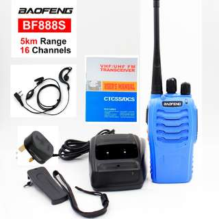 🚚 NEW STOCK!!!! Blue Baofeng 5W BF-888S Walkie Talkie UHF: 400-470MHz Two Way Radio, BLUE export set, long range