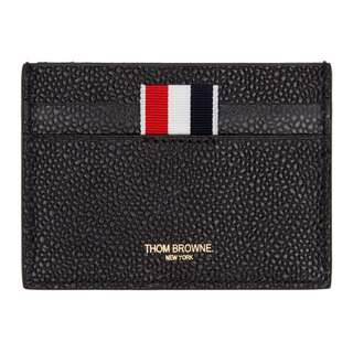 (For Order)Thom Browne Black Diagonal Stripe Single Card Holder
