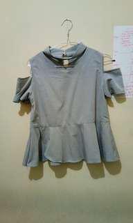 (P) Baju shoulder abu abu