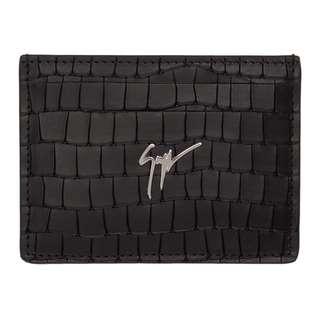 (For Order)Giuseppe Zanotti Black Croc Zayn Card Holder