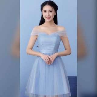 🚚 天藍色雪紡紗小禮服