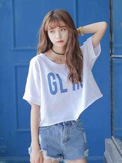 🚚 【貝莉潮流】(關注+愛心送贈品)蝙蝠衫🎉夏天韓版原宿風BF寬鬆高腰短款顯瘦T恤
