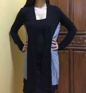 Black long knit cardigan with front buttons- Fits S to L