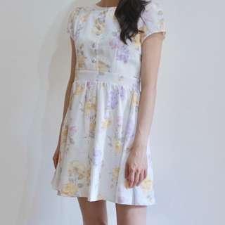 [Fire 烈愛]白色短袖花卉清新古著洋裝_vintage