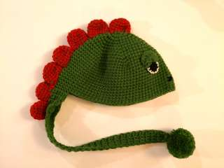 PRELOVED BABY Knitted Very Adorable Sleepy Green Dragon Cap - in perfect condition