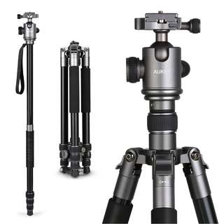 """[IN-STOCK] AUKEY Camera Tripod, 67"""" Aluminum Professional Travel Tripod for DSLR with 360° Panorama Ball Head, Two 1/4"""" Quick Release Plates for Canon Nikon Sony"""