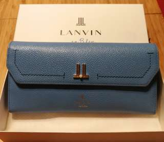 Lanvin en Bleu 粉藍色真皮長銀包