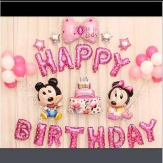 <In-stock> Happy birthday decoration set - Baby Mickey & Minnie (Pink)