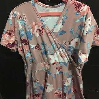 Floral Overlap Dress Plus Size
