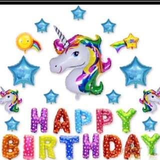 <In-stock> Happy Birthday decoration set -Unicorn set 2