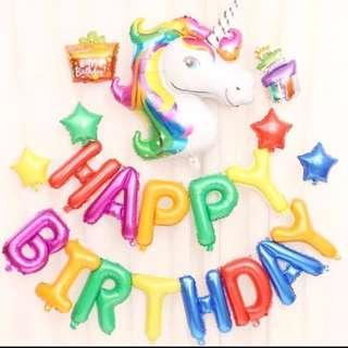 <In-stock> Unicorn party decoration set (Rainbow + 2pcs foil balloons)