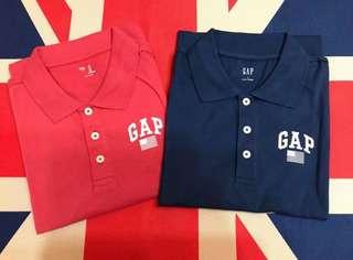 🚚 全新現貨在台-GAP燙印國旗LOGO灰藍色 海軍藍+西瓜紅POLO衫版型正常保證正品正貨