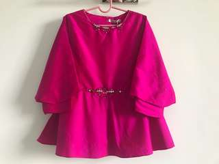 Fuchsia Pink Blouse Top