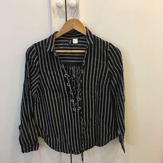 H&M Lace up striped black top long sleeves