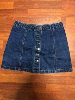 Topshop button denim skirt