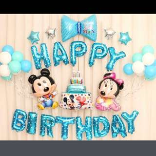 <In-stock> Happy Birthday Party Decoration Set - baby mickey and minnie (blue)