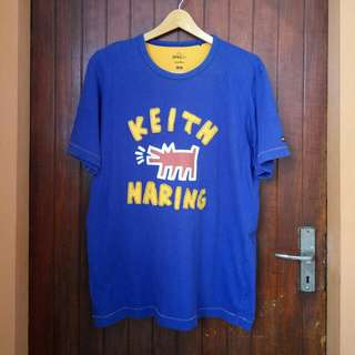 Keith Haring Blue/Yellow Patch Logo tee sz XL