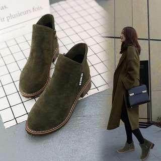 [PO] Korea Low-heeled suede boots