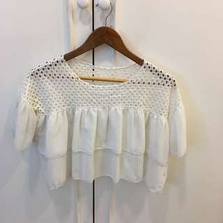 White ruffle top with embroidered lace top