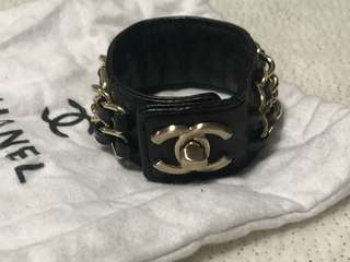 Chanel cuff bangle bracelet cuff gold hardware leather lambskin chain cc designer