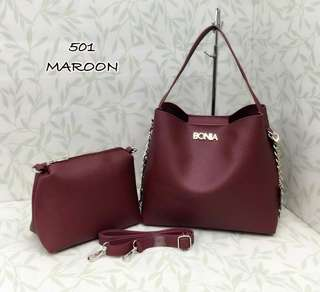 Bonia Tote Bag 2 in 1 Maroon Color