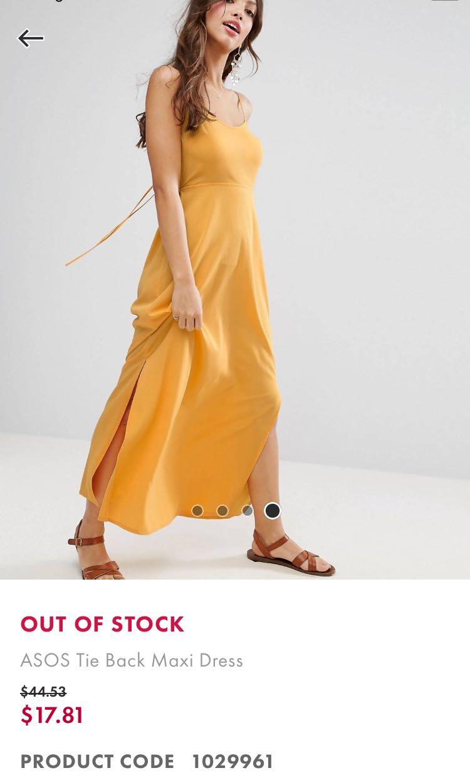 cdcb0cb6d9b7 ASOS TIE BACK MAXI DRESS IN MUSTARD YELLOW, Women's Fashion, Clothes ...