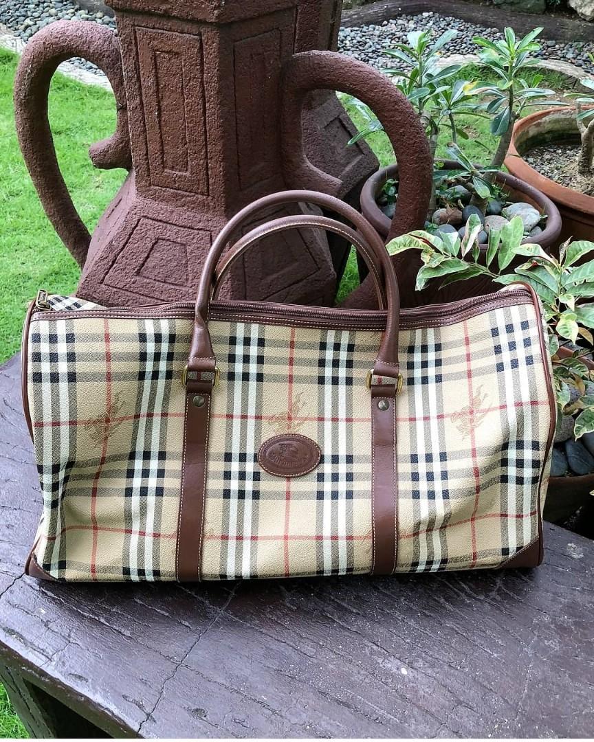 09cf36e24c80 Authentic Burberry Haymarket Nova Duffel Bag Burberry Travel Bag ...