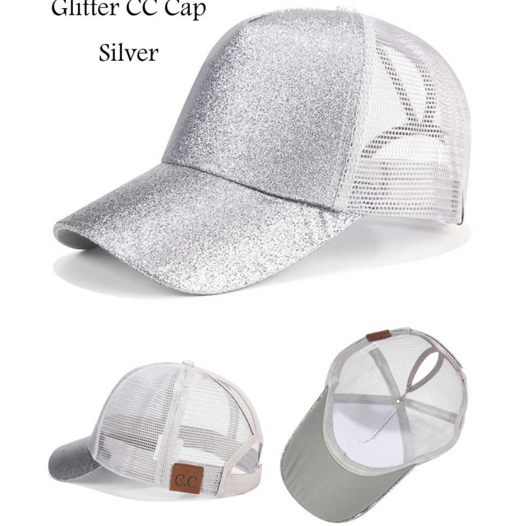 6ab0419367d8 ☆Baseball Cap☆Ponytail Adjustable Snapback-Silver, Women's Fashion ...