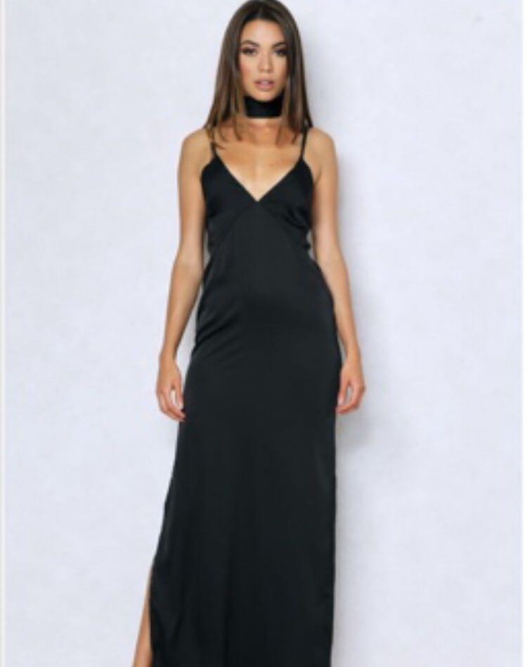 BLACK SLIP FORMAL DRESS