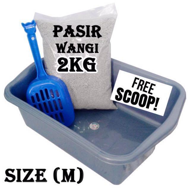 CAT LITTER/ PASIR WANGI/PASIR GUMPAL/BAK PASIR/PET TOILET/CAT TOILET/TOILET KUCING/TEMPAT PIPIS KUCING