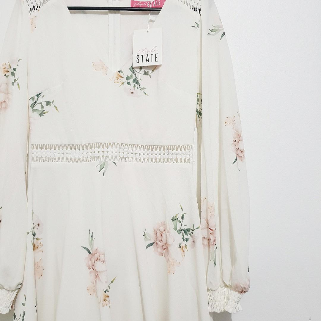Floral Midi Skater Dress (V Neck)