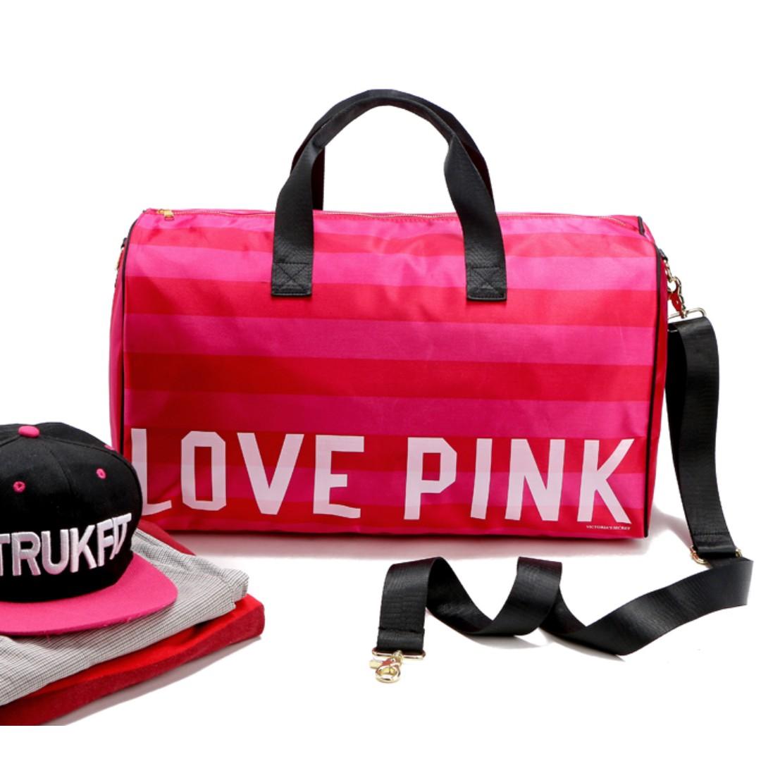 48df02ec6016 Instock! VS Victoria s Secret Love Pink Stripe Duffel Gym Travel Bag ...