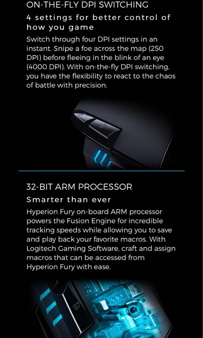 Logitech G402 Hyperion Fury, Electronics, Computer Parts