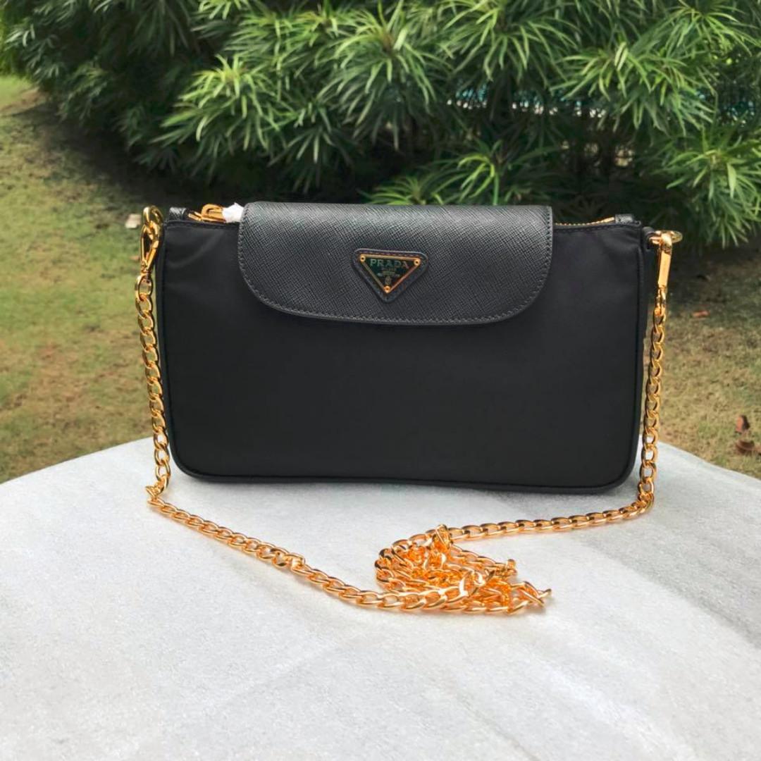 4b8312582421 Prada Black Nylon Tessuto + Saffiano Bag, Women's Fashion, Bags ...