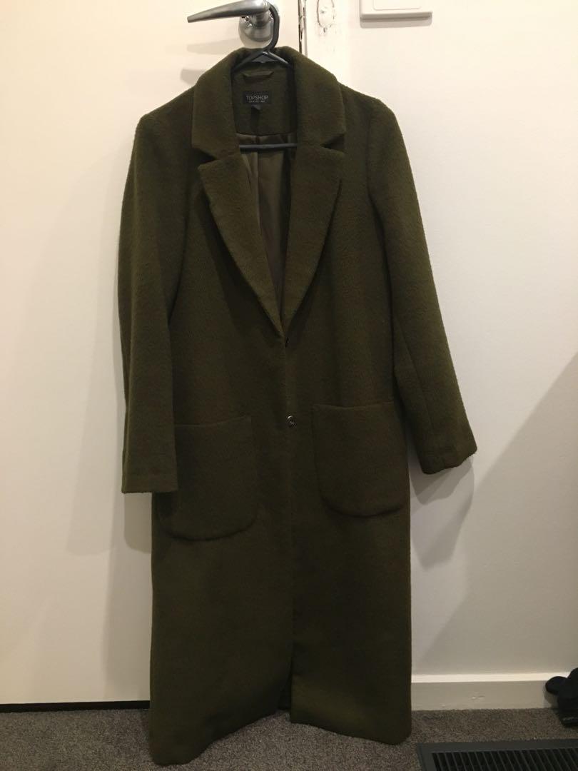 TOPSHOP Longline overcoat jacket - size 6 olive khaki colour