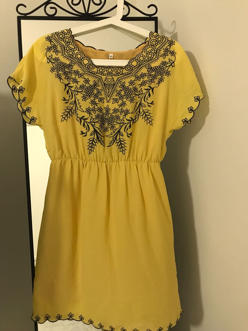 Yellow Dress With Embroidery Navy Flowers Womens Fashion Clothes